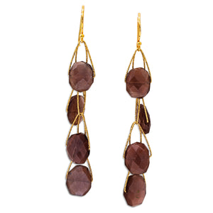 "Brown Moonstone 4 Stone ""Academy"" Earring"