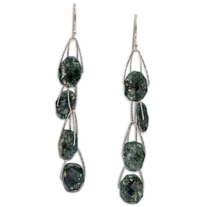 "Moss Agate 4 Stone ""Academy"" Earring"