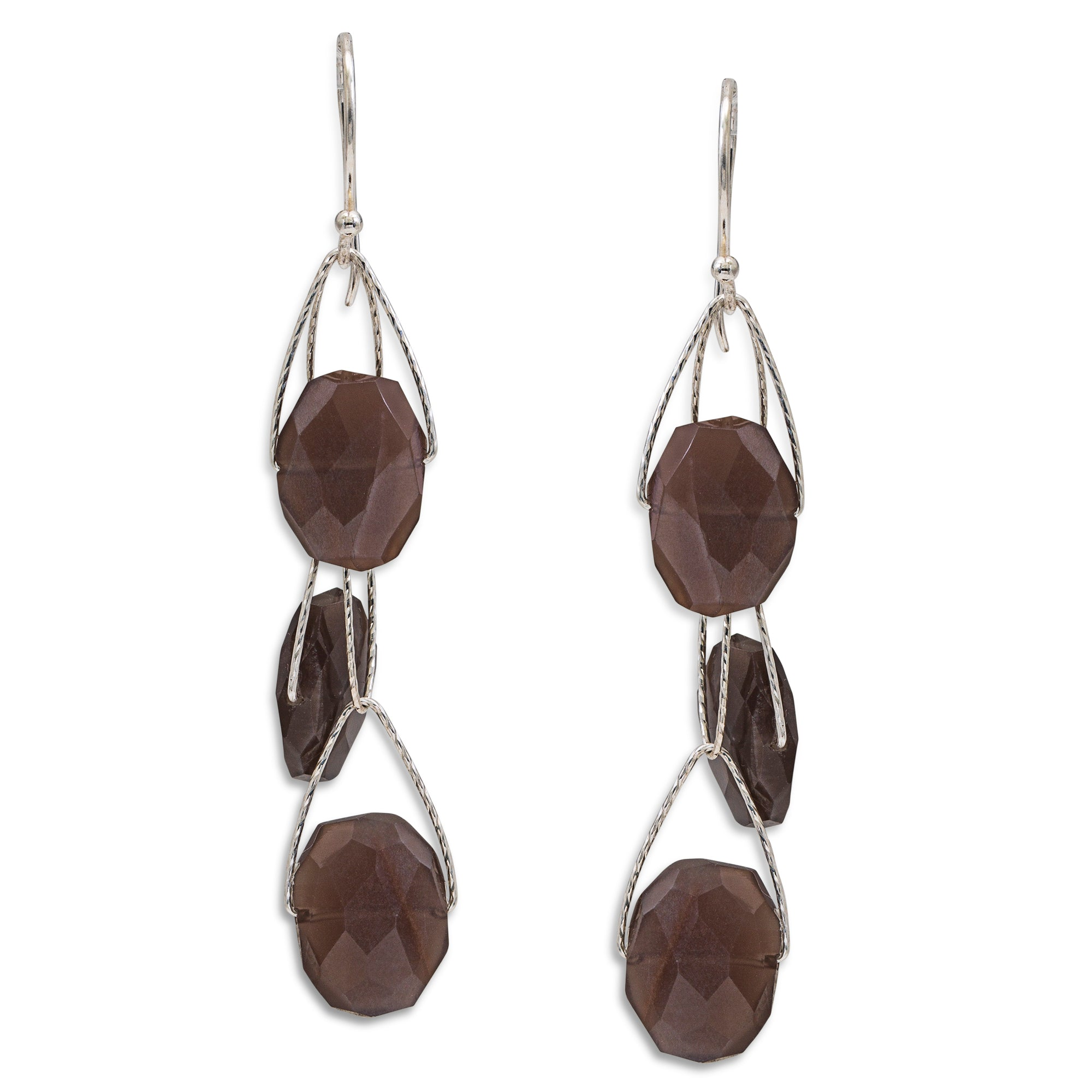 "Brown Moonstone 3 Stone ""Academy"" Earring"