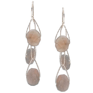"Grey Moonstone 3 Stone ""Academy"" Earring"
