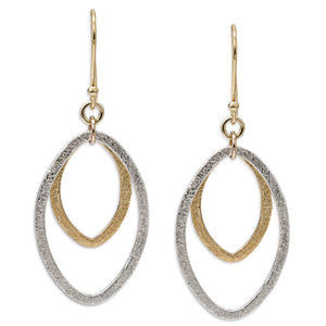2-Tone Marque Infinity Hoops, Two Tone Silver and Gold