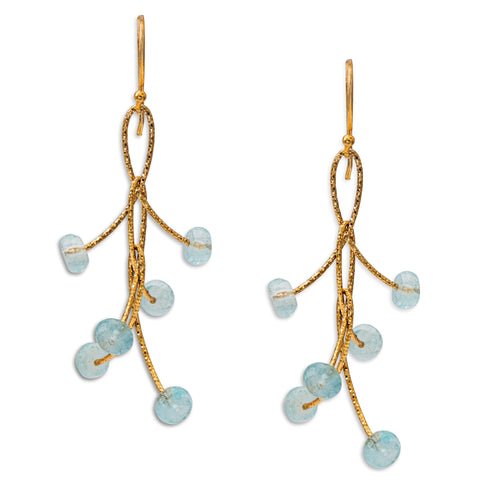 "Aquamarine Triple ""Orbits"" Earrings"