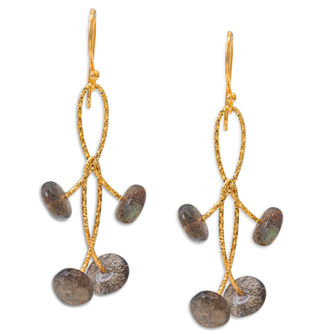 "Labradorite Rondell Double ""Orbits"" Earrings"