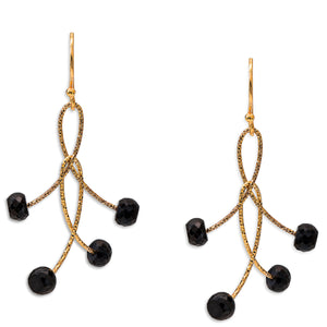 "Black Spinel Double ""Orbits"" Earrings"