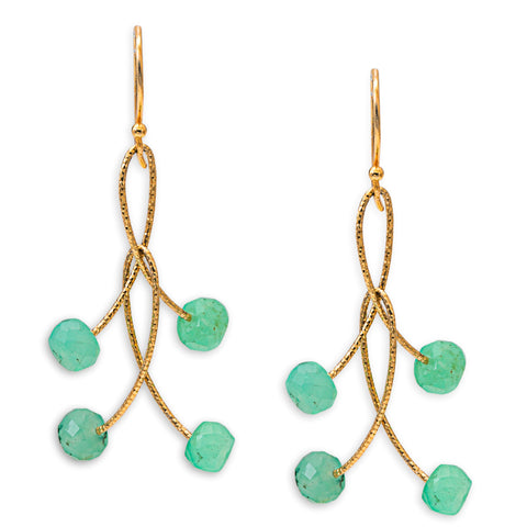 "Chrysoprase Double ""Orbits"" Earrings"