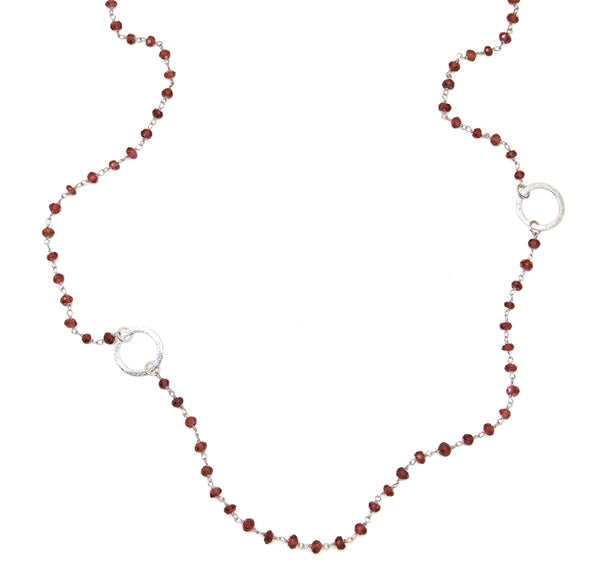 Garnet Eternity Circle Long Necklace