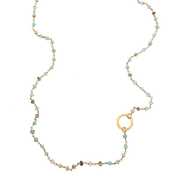Blue Peruvian Opal Eternity Circle Long Necklace