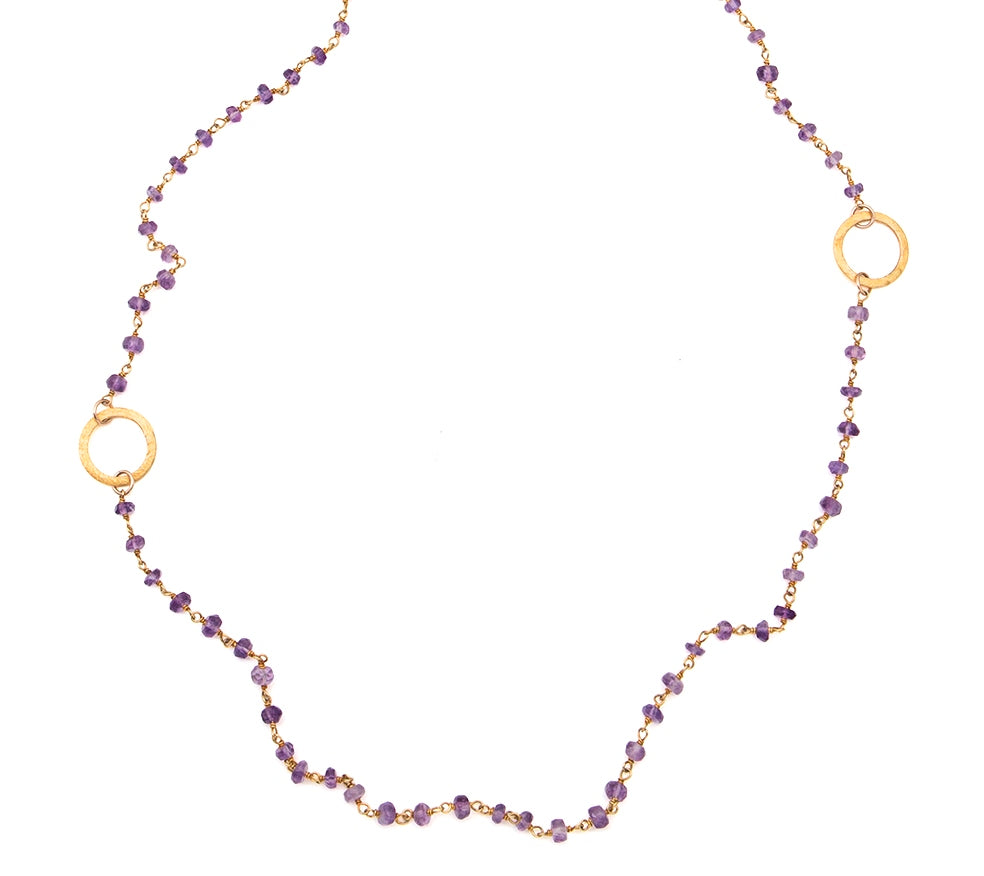 Amethyst Eternity Circle Long Necklace
