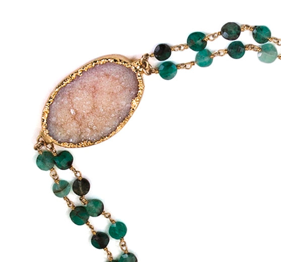 Natural Emerald Double Stranded DRUZY Long Necklace
