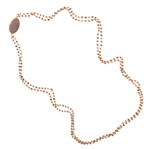Brown Moonstone Double Stranded DRUZY Long Necklace
