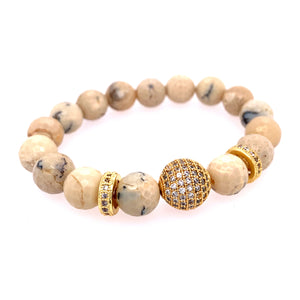 African Opal Pave BLING Stone Bracelet - Gold