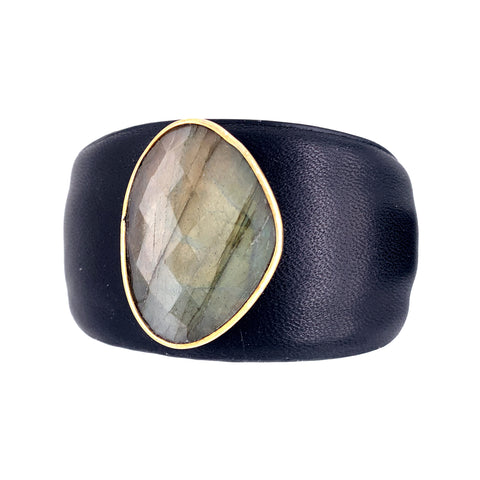 So HOT for Fall - This Leather Labradorite Cuff will have Heads Turning!      AAA Faceted Labradorite with Flash - Approx 35MM     Fine Leather Black or Grey Cuff with Saddle Interior     Size - One size fits most (Approx 7 inches) - Is Flexible Ruby Grey google facebook