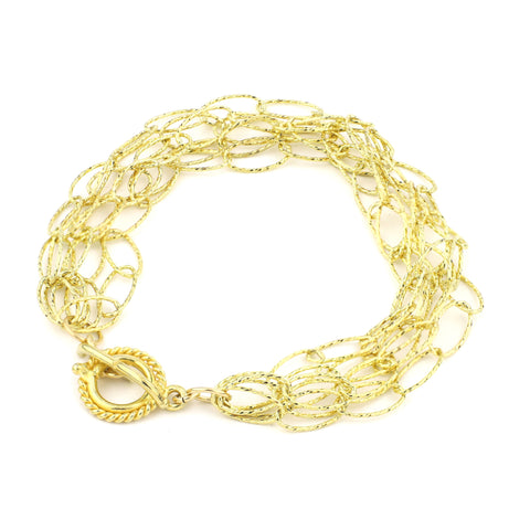 Dreamcatcher 5 Strand Bracelet - Gold Diamond Cut Vermeil google pinterest facebook instagram silver rose