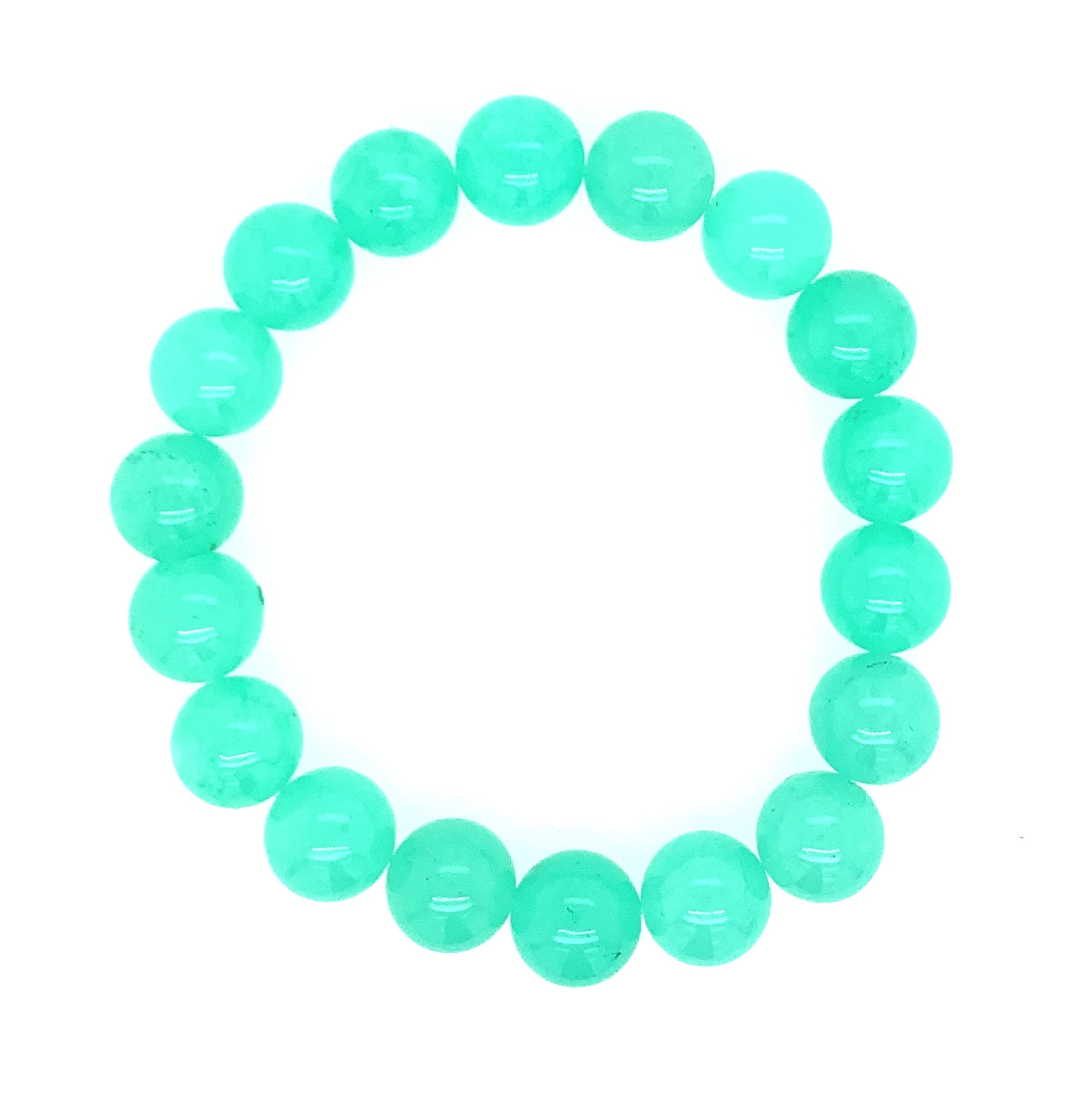 "Jade ""Chrysoprase"" Single Stranded Stone Bracelet - Plain"