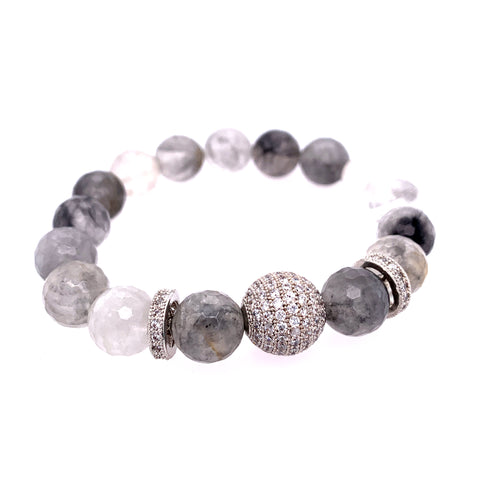 Rutilated Black & White Quartz Pave BLING Stone Bracelet - Silver
