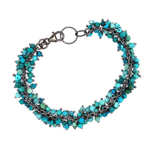 Beautiful Turquoise Stone Single Shimmer Bracelet - Black Oxidized Silver google pinterest facebook