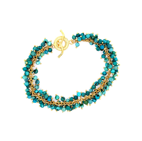 Gorgeous Turquoise Stone Double Shimmer Bracelet - Gold black silver oxidized google pinterest facebook