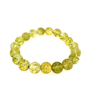 Chartreuse Cracked Yellow Quartz Stone Bracelet