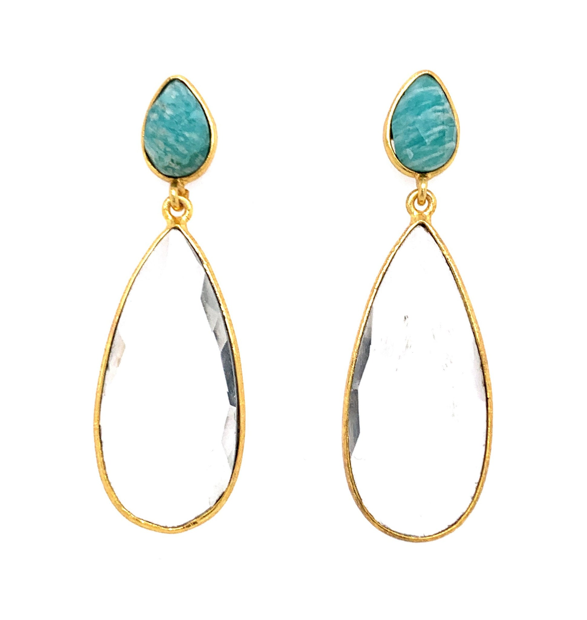 Blue Chalcedony & Moonstone Double Teardrop Sterling Gold Post Earrings silver google youtube facebook pinterest instagram amazonite quartz lapis