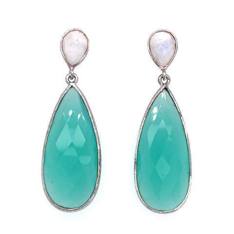 Blue Chalcedony & Moonstone Double Teardrop Sterling Gold Post Earrings silver google youtube facebook pinterest instagram