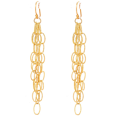 Disco Gold Diamond Cut X-Long Dreamcatcher Fringe Earrings