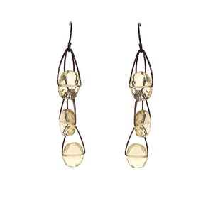 "Lemon Quartz 3 Stone ""Academy"" Earring - Black Silver"