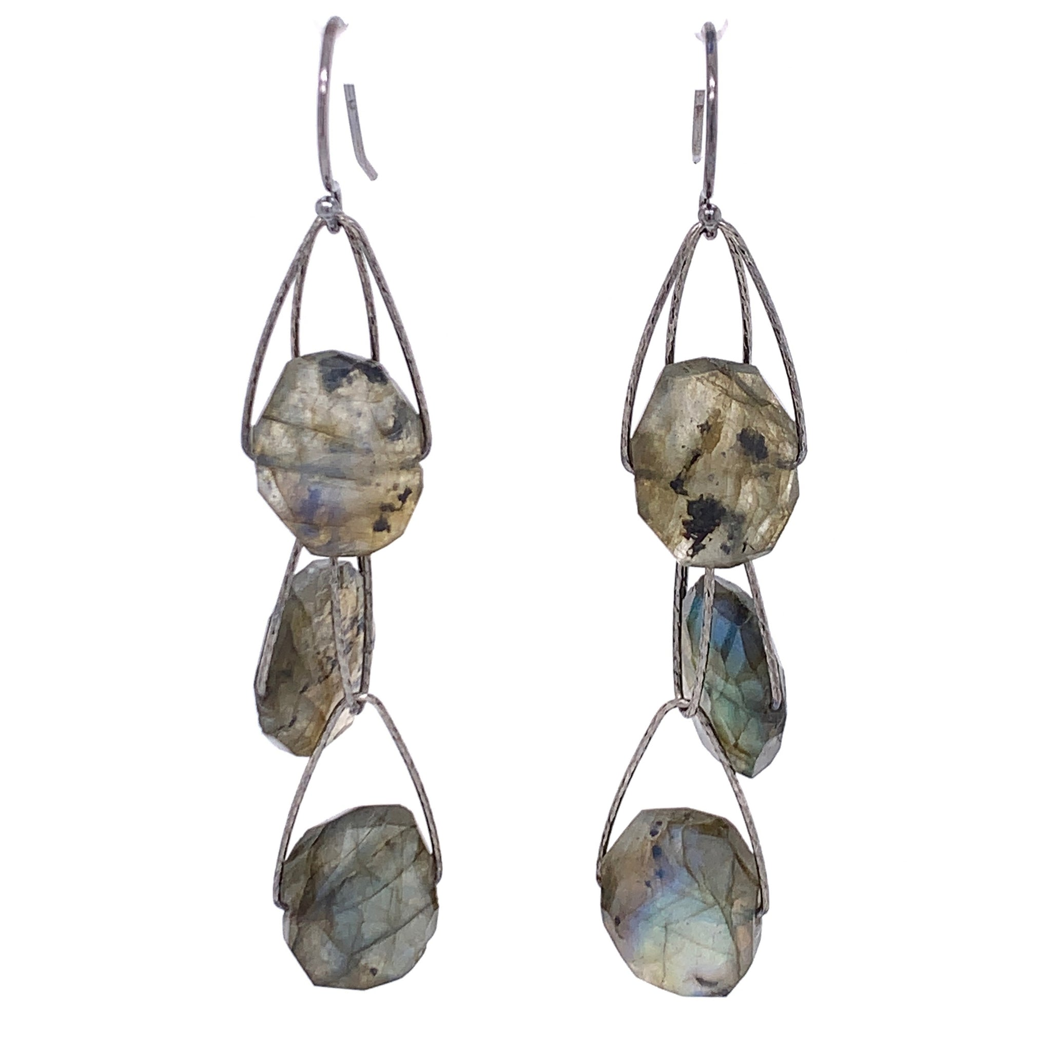 "Labradorite 3 Stone ""Academy"" Earring - Oxidized  Media 2 of 3"