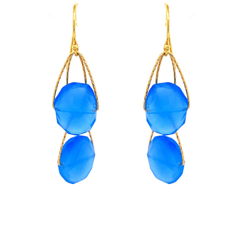"Royal Blue Chalcedony 2 Stone ""Academy"" Earring facebook youtube google gold silver"