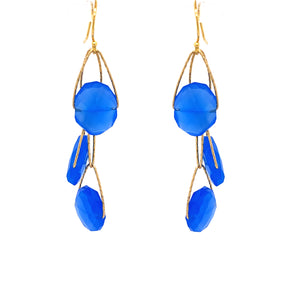 "Royal Blue Chalcedony 3 Stone ""Academy"" Earring"
