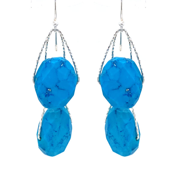 "Turquoise Blue Howlite 4 Stone ""Academy"" Earring - Silver GOOGLE facebook instagam"