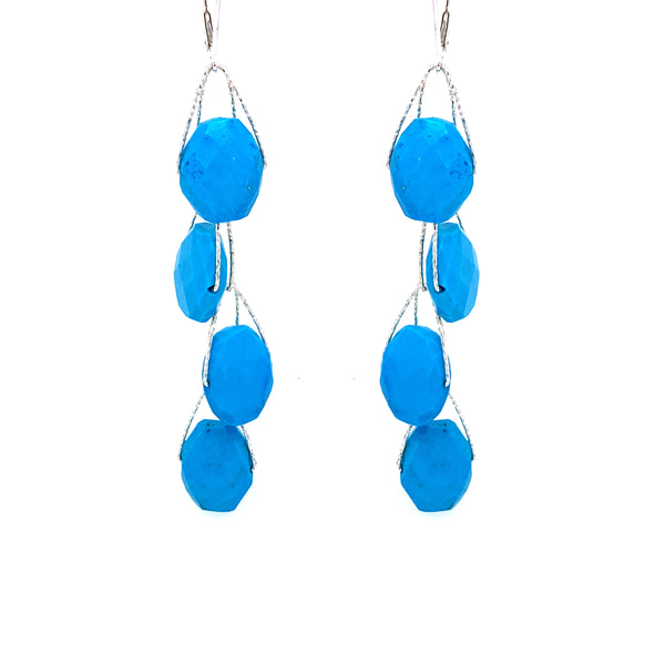 "Turquoise Blue Howlite 1 2 3 4 Stone ""Academy"" Earring - Silver google youtube facebook pinterest"