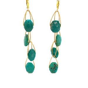 "Turquoise AAA Stablizied 4 Stone ""Academy"" Earring - Gold"