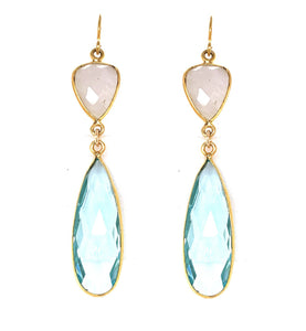 Rainbow Moonstone & Blue Quartz Regal Double Earring Drops, Gold