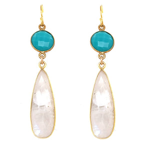 Gorgeous Rainbow Moonstone w/ Flash     Semi Precious Stones     Gold Filled Bezel Casing     Lever Back - 14kt Gold over Sterling Silver     Approx 2.25 Inch Drop
