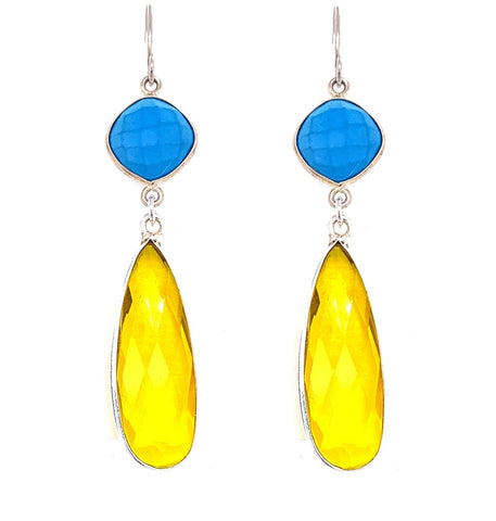 Turquoise & Bright Lemon Quartz Regal Double Earring Drops, Silver  Media 1 of 1 pinterest google facebook