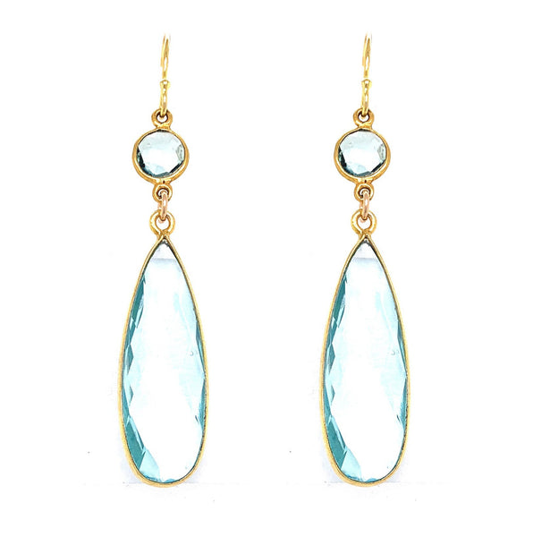 Emerald Green & London Blue Quartz Regal Double Earring Drops, Silver gold google facebook pink rubelite green blue yellow