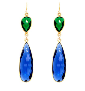 Emerald Green & London Blue Quartz Regal Double Earring Drops, Silver gold google facebook