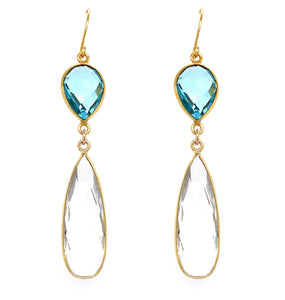 Emerald Green & London Blue Quartz Regal Double Earring Drops, Silver gold google facebook pink rubelite green blue yellow crystal aqua pinterest instagram