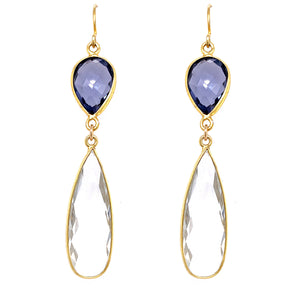 Iolite & Crystal Quartz Regal Double Earring Drops, Gold