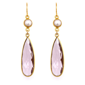 Pearl& Amethyst Regal Double Earring Drops, Gold google pinterest