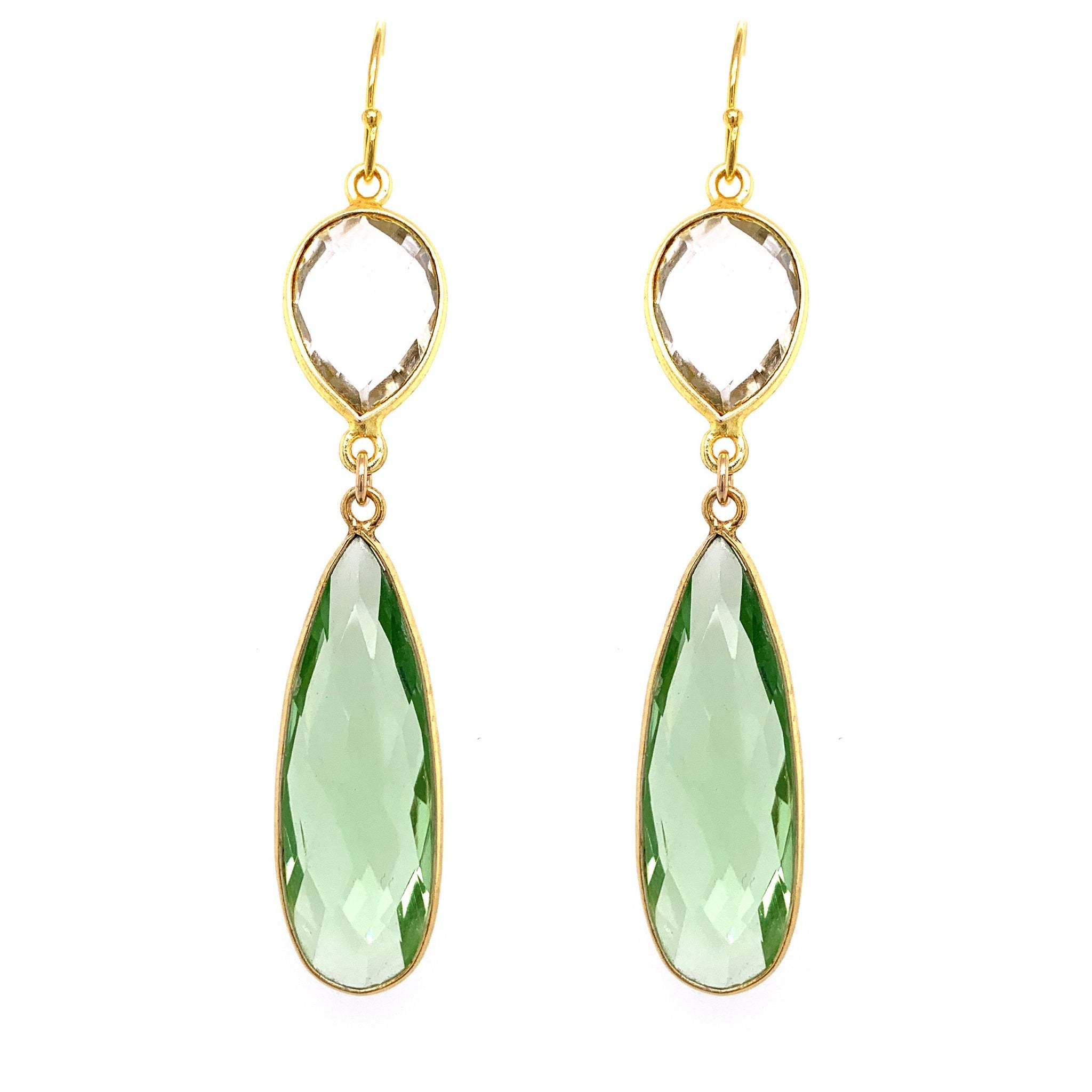 Crystal & Green Amethyst (Prasiolite) Regal Double Earring Drops, Gold