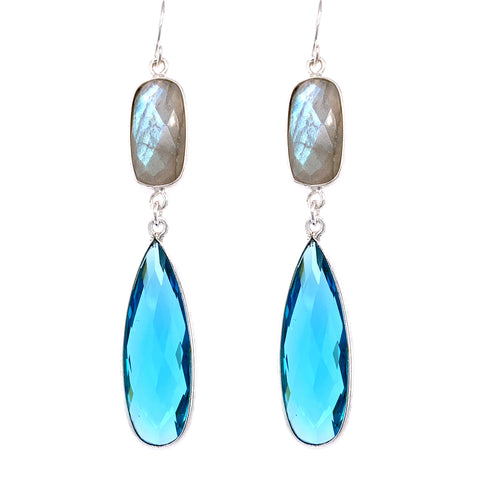 Labradorite & Aqua Blue Quartz Regal Double Earring Drops, Silver
