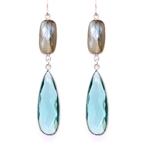Labradorite & Pale Blue Quartz Regal Double Earring Drops, Silver