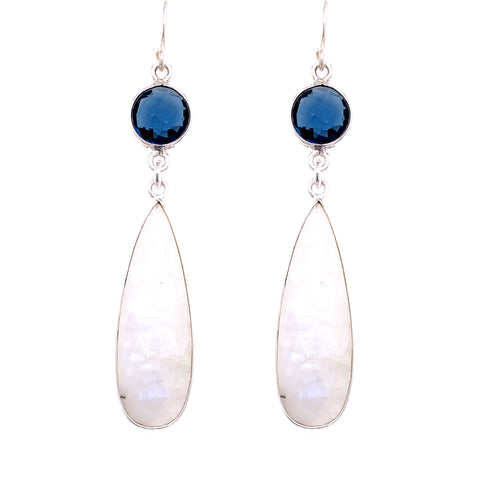 London Blue Quartz & Rainbow Moonstone Regal Double Earring Drops, Silver