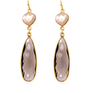 Nude Moonstone & Smokey Quartz Regal Double Earring Drops, Gold
