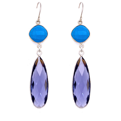 Turquoise & Periwinkle Iolite Regal Double Earring Drops, Silver