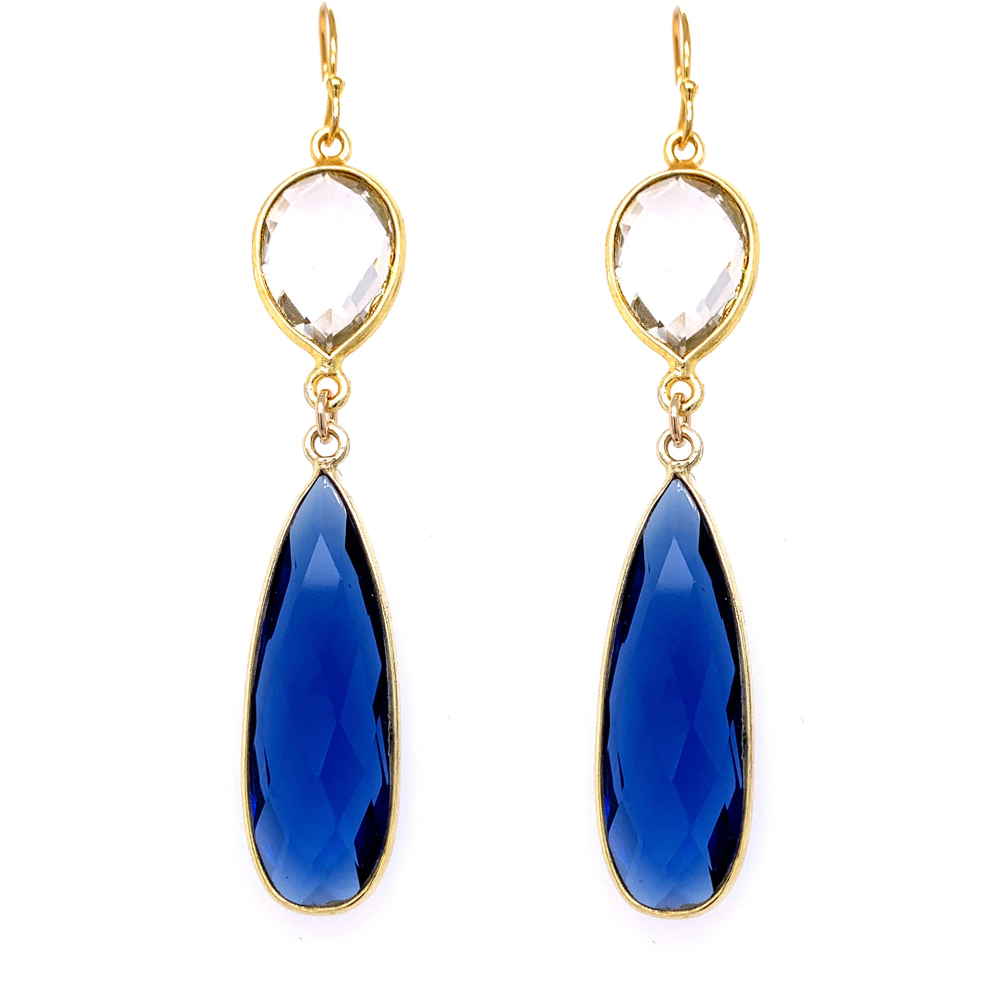 Crystal & London Blue Quartz Regal Double Earring Drops, Gold