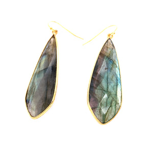 "Giant Labradorite ""Slab"" Earrings"
