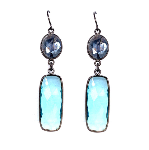 Mystic Labradorite with Blue Quartz Drop Earrings, Oxidized