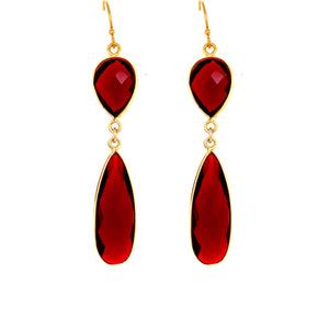 Garnet Quartz Regal Double Earring Drops, Gold